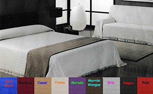 Alfarnate Couvre-lit/plaid uni tissé à franges multifonction pour lit ou canapé Qualité supérieure garantie Fabriqué en Espagne 230_x_260_cm violet