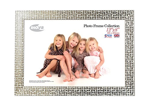 Inov8 12 x 8-Inch British Made Picture/Photo Frame, Mosaic Silver,PFES-MOSL-128