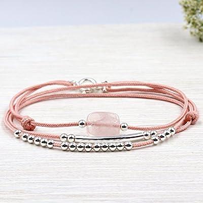 bracelet cordon triple tours quartz rose jonc et perles en argent 925