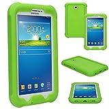TECHGEAR Bumper Coque pour Samsung Galaxy Tab 3 7.0 (SM-T210 / SM-T211 / SM-T215) Coque Rigide, Très Haute Protection Anti-Choc Avec Protection des Bords & Coins Renforcés et une Conception de Prise en Main très Facile [VERT] - Idéale Pour les Enfants et Ecoles - NON UTILISABLE pour Tab 3 Lite 7.0!!!!!