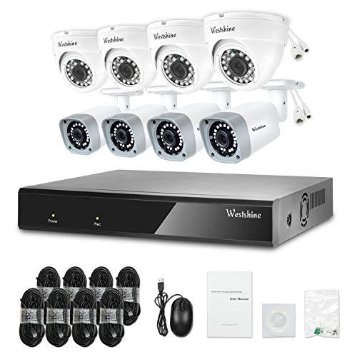Westshine 16CH 5MP POE NVR Kit,Sistema di sicurezza con 8 porte POE da 5MP (4pcs Bullet + 4pcs Dome Camera), Motion Detection Alert,Smart Recording/Playback,Accesso remoto