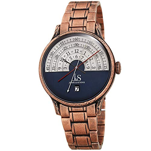 Joshua & Sons Chronograph Halograph Men's Watch - Unique Round Arc Themed Dial -Date Window on Antique Finish Stainless Steel Bracelet- JX153 (Rose Gold and Blue) -