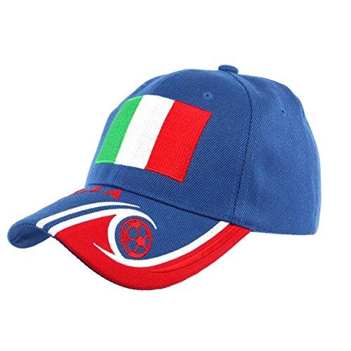 País–Gorra fútbol Italia Selección para Hombre/Mujer, azul, talla única