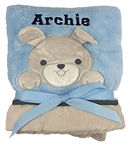 Personalised Deluxe Puppy on Blue Blanket - Baby Blanket. Luxurious wrap. Great Baby Gift.