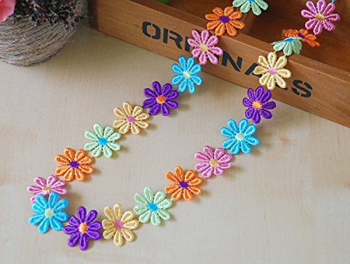 Stickerei, Colorful Flower Muster Form Trim Applikation Ribbon 5 Meter Nähen DIY Craft Multi Color Bridal Lace Applique