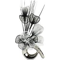 Flourish Vase avec fleurs chrome/noir/blanc