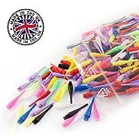 250 bunte & langlebige Profi Dartspitzen - kurz & stabil - kleines Gewinde 2BA - mindestens 6 verschiedene, peppige Farben für E-Dart / Soft Dart Scheiben