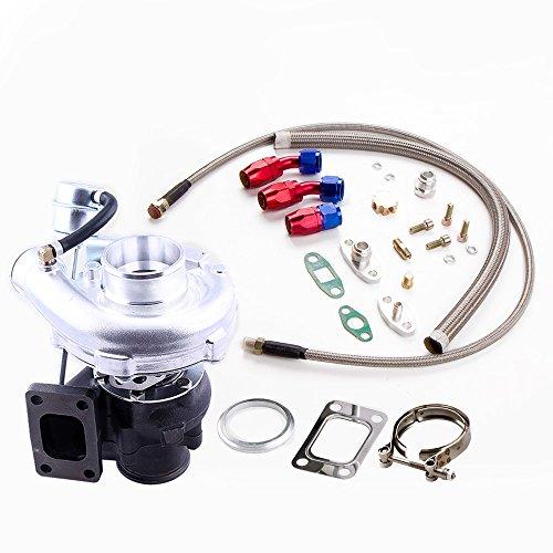 Preisvergleich Produktbild maXpeedingrods 420 PS V Band T3 T4 A/R .50 .63 Turbolader für 2.5 - 4.0L 4/6 Zyl. Motor + Ölleitungen Kit
