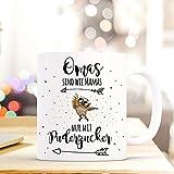 ilka parey wandtattoo-welt® Becher Tasse Kaffeetasse Kaffeebecher Eule mit Spruch Omas sind wie Mamas nur mit Puderzucker ts420