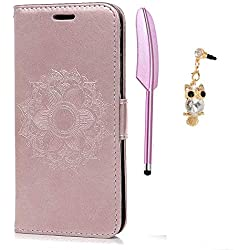 A3 Coque 2017, Bookstyle Étui Magnifiquement Conçu Housse Imprimé en PU Cuir Case à rabat Coque de protection Portefeuille TPU Silicone Case pour Samsung Galaxy A3 2017 - Or Rose