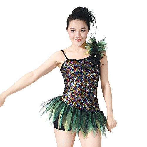 MiDee Pavonine Hemdchen, Oder So Was Pailletten Biketard Tanz Kostüm Jazz Kleidung (Grün, MA) (Tanz Biketard Kostüme)
