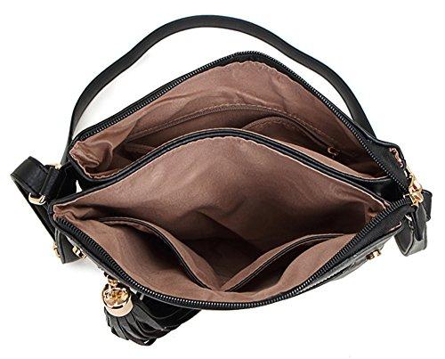 Big Handbag Shop Damen, mittelgroß, trendige Messengertasche, Schultertasche, Umhängetasche Design 1 - Navy