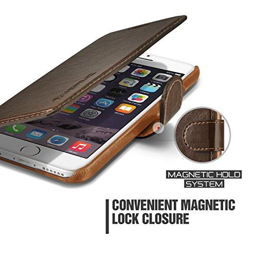 iPhone 6S Plus Hülle, VRS Design [Layered Dandy Serie] Schlanke Prämie PU Ledertasche mit 3 Kartenfächern für Apple iPhone 6 6S Plus 2015 - Kaffee Braun Kaffee Braun