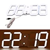 Reloj LED, pantalla LED reloj digital reloj de visualización de la temperatura de la pared Fecha Hora de café de la barra - Blanco, 44 x 18 x 2 cm