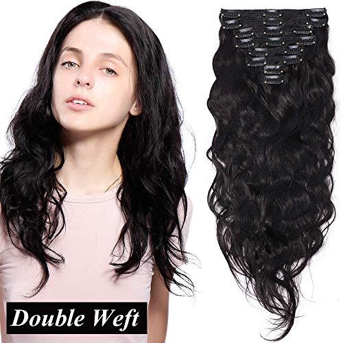 Extension clip capelli veri ricci 8 ciocche volumizzante double weft con 18 clips 100% remy human hair mossi naturali 150g (50cm, 1b nero naturale)