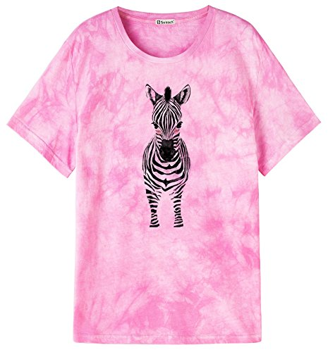 So'each Women's Donkey Graphic Animal Pink Tie-Dyed Casual Tee T-Shirt Tops (Light Donkey T-shirt)