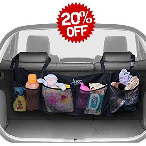 Kofferaumtasche für Auto und SUV – Für Sauberen und Aufgeräumten Kofferaum – Auto Organizer – Netz Mit 4 Großen Taschen aus Mesh - Car Organizer – Mit Vielen Modellen Kompatibel