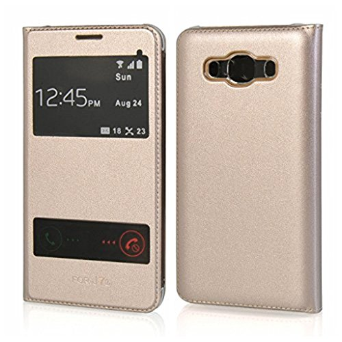 Helix Perfect Fitting Window Sensor Leather Premium Flip Cover For Samsung Galaxy A9 Pro Gold