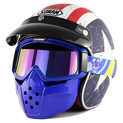 WYYHAA Motorrad-Helm, Mit Maske Brille Moto Chopper Jethelme Motorrad Scooter Casco DOT Zulassung Motorrad,A,L