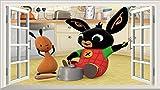 Chicbanners Bing Bunny E Flop v001Magia Finestra Parete Adesivo Adesivo Poster da Parete Arte Misura 1000mm di Larghezza X 600mm di profondità (Misura Grande)