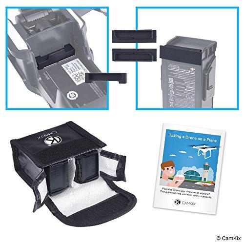 Reisesicherheits-Pack für DJI Mavic Air - Für 2 Akkus - Beinhaltet: LiPo-Sicherheitstasche, 2x Akku-Deckel, 1x Ladeanschluss-Abdeckung und Reise-Anweisungen - Ideales Schutz-Set für Flugreisen