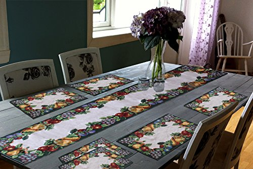 Glamkart Table Mat With Runner On Jacquard Fabric Set Of Seven