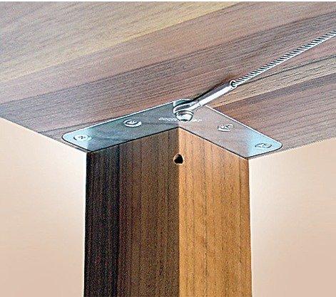 GedoTec® Tischbein-Befestigung Set unter der Tischplatte für massive Tischbeine & Tischfüße | Befestigung für Tischbeine 80 x 80 mm | Stahl verzinkt | Markenqualität für Ihren Wohnbereich