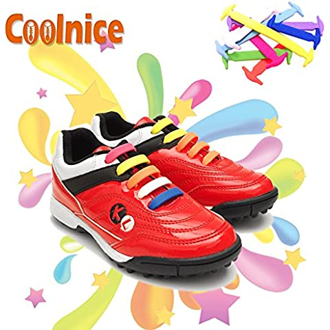 Coolnice No Tie Shoelaces for Kids funny 12pcs- Environmentally safe Waterproof Silicon- Color of Rainbow