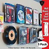 CollectorMount DVD Mont Jeu Vidéo, 45 Enregistrement et Blu-Ray Support D'étagère et Montage Mural, Invisible et Réglable, Lot de 5