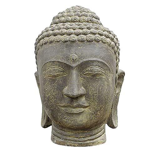 Oriental Galerie Buddha Kopf Groß Garten Steinfigur Deko Figur Skulptur Lavasand Stein Head Bali 72cm