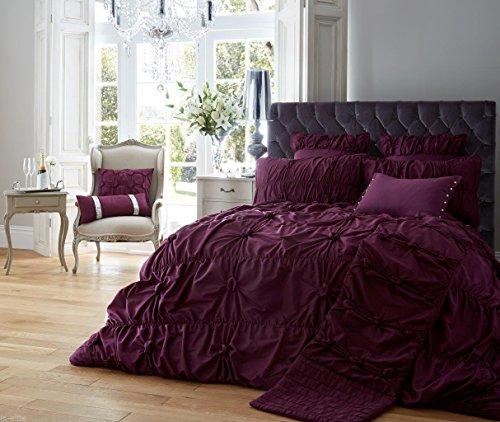 GC Designer Bestickte Luxus Alexandra/Bettbezug Bettwäsche Set mit Kissen, Polycotton, aubergine, Doppelbett -