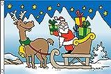 AZ FLAG Bandiera Babbo Natale Slitta con Renna 150x90cm - Bandiera Auguri di Merry Christmas 90 x 150 cm
