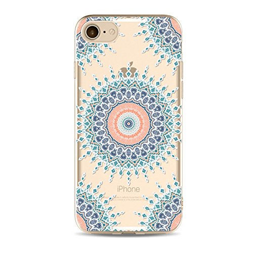 iPhone 6S Plus Hülle,iPhone 6 Plus Hülle,SainCat iPhone 6 Plus/6S Plus Silikon Hülle Tasche Handyhülle Datura Blume Retro Muster Schutzhülle [Kratzfeste, Scratch-Resistant] Transparent TPU Gel Case Bu Datura Blume-#33