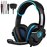 2016 Newest SA708 GT Version Wired 3.5mm Stereo Gaming Headset PS4, Computer Headphones with Microphone Lightweight Noise Reduction for PC MAC Laptop iPad iPhone Smart Mobile Phones(Black Blue)