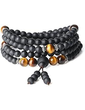 COAI® Edelstein Eingeschliffener Onyx und Tigerauge Gebetskette Gebetsarmband für Frauen und Männer