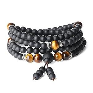 coai Unisex 108 Mala aus Matt Onyx und Tigerauge Gebetskette Gebetsarmband