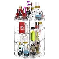 Organizador de maquillaje,360° Giratorio, Grande Capacidad Acrilico Transparente Cosméticos Organizadores con Bolso para Dresser Baño, Regalo para Niñas Mujeres
