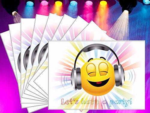"""""""LET´s HAVE a PARTY"""": 10-er-Set lustige Smiley- / Emoji-Einladungskarten (10701) zum Kindergeburtstag von EDITION COLIBRI © – umweltfreundlich, da klimaneutral gedruckt - 4"""