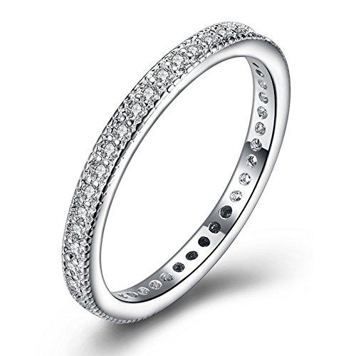 Epinki placcato in oro bianco donna argento zirconi nuziale fede nuziale anello taglia 20 accessori donna