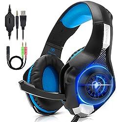 Beexcellent GM100HB - Auriculares gaming estereo con micrófono - PS4, Nintendo, Xbox, Wii, PC - Azul
