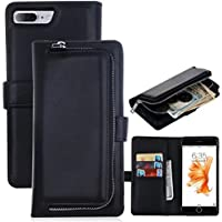 iPhone 7 Plus Tablet, iPhone 7 Plus Wallet Case, lontect cerniera accessori per fioriera con carte di credito & Cash Pelle PU cellulare percussione con Hard Case magnetica staccabile per Apple iPhone 7 Plus