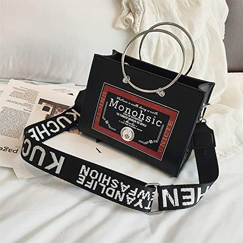 ZSBBshop Taschen Modering, Handtasche, Mädchen, Welle, koreanische Version, INS Super Fire Breitband-Umhängetasche, Schwarz