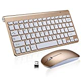 Xatan draadloze toetsenbord en muis Combo voor Windows, 2.4 GHz Slim toetsenbord & muis Combo, draagbare muis, multimediatoetsen, PC/Laptop, QWERTY algemene lay-out (goud)