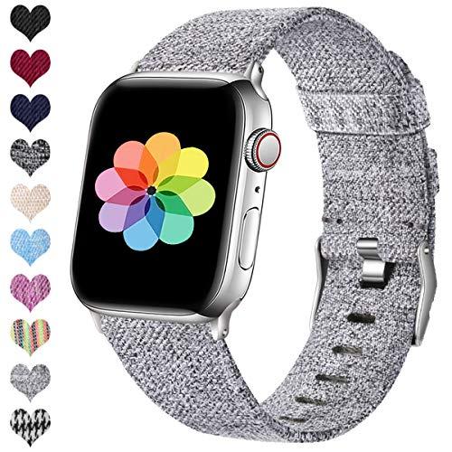 HUMENN Kompatibel mit Apple Watch Armband 38mm 40mm 42mm 44mm, Ersatzgewebe Band Nylon Sport Armband mit Rostfreier Metallschnalle für iWatch Serie 5 4 3 2 1, Grau 38mm/40mm