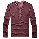 Cebbay Camisa Manga Larga Hombre Botón Escote en V Vintage Slim fit Capa Camiseta de los Hombres