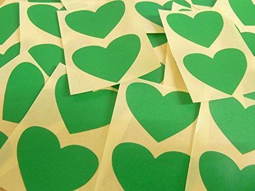 50x37mm Verde Medio Con Forma De Corazón Etiquetas, 40 auta-Adhesivo Código De Color Adhesivos, adhesivo Corazones para Manualidades y Decoración