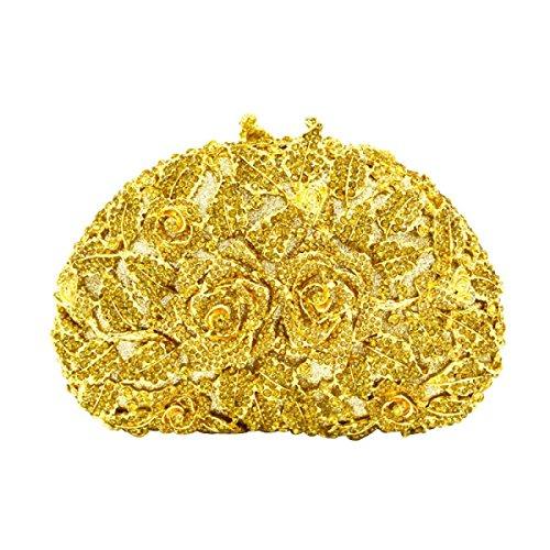 Diamante Pochette Sera Fiore Di Cristallo Delle Donne Gold