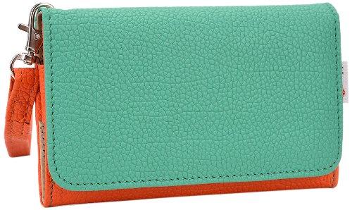 Kroo esamwlb1Epi-Slim Clutch Wallet Schutzhülle aus Leder für Smartphone, Orange and Green, Up to 4 Inch Radar-bb