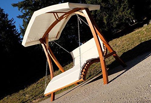 Design Hollywoodschaukel Gartenschaukel Hollywoodliege Doppelliege aus Holz Lärche mit Dach Modell: 'ARUBA' von AS-S - 9