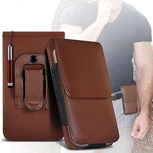 (Red) Case for iPhone 7 Plus Mobile Phone Case (PU) Leather Belt Clip Pouch Case Flip Cover Holster With Magnetic Button + retractable stylus touchscreen pen iPhone 7 Plus case by i-Tronixs Belt Flip+ stylus pen (Brown)